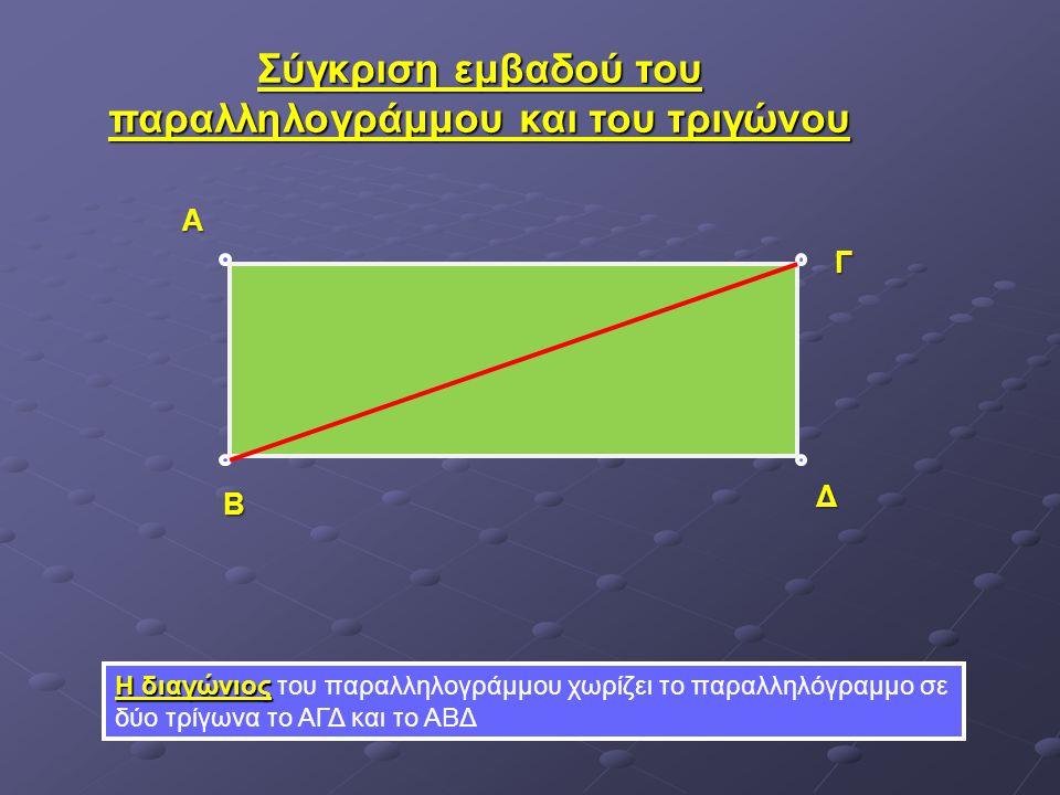Σύγκριση εμβαδού του παραλληλογράμμου και του τριγώνου Η διαγώνιος Η διαγώνιος του παραλληλογράμμου χωρίζει το παραλληλόγραμμο σε δύο τρίγωνα το ΑΓΔ κ
