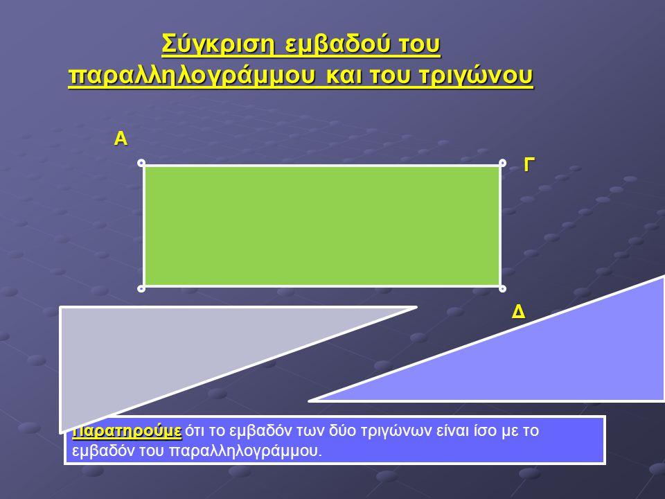 Σύγκριση εμβαδού του παραλληλογράμμου και του τριγώνου Παρατηρούμε Παρατηρούμε ότι το εμβαδόν των δύο τριγώνων είναι ίσο με το εμβαδόν του παραλληλογρ