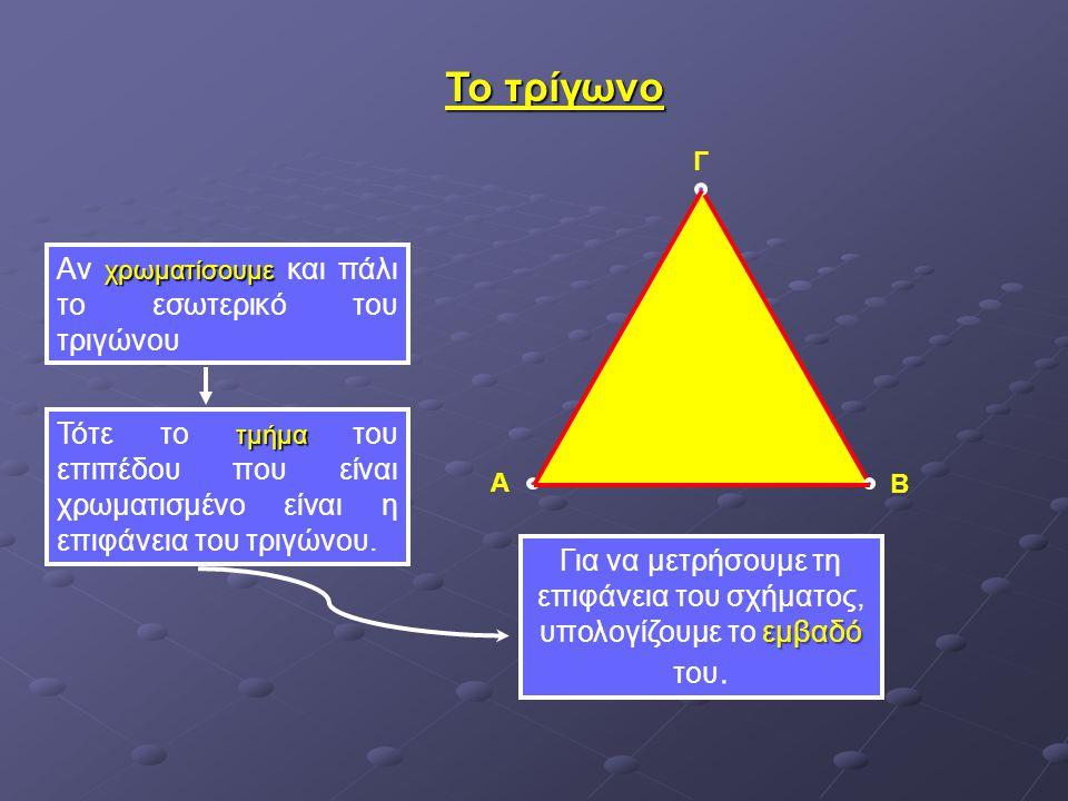 Α Β Γ εμβαδό Για να μετρήσουμε τη επιφάνεια του σχήματος, υπολογίζουμε το εμβαδό του. Το τρίγωνο χρωματίσουμε Αν χρωματίσουμε και πάλι το εσωτερικό το