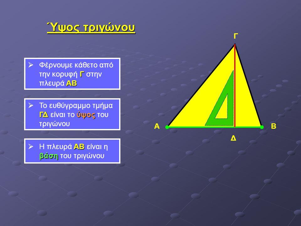 Ύψος τριγώνου ΑΒ Γ Γ ΑΒ  Φέρνουμε κάθετο από την κορυφή Γ στην πλευρά ΑΒ Δ ΓΔ ύψος  Το ευθύγραμμο τμήμα ΓΔ είναι το ύψος του τριγώνου ΑΒ βάση  Η πλ