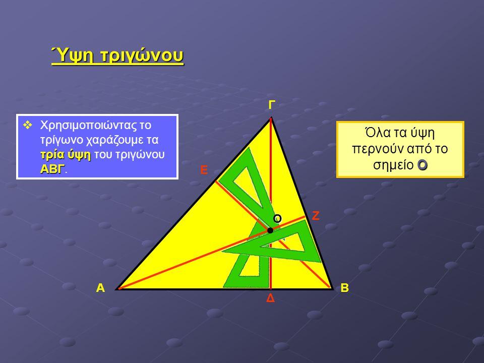 Ύψη τριγώνου τρία ύψη ΑΒΓ  Χρησιμοποιώντας το τρίγωνο χαράζουμε τα τρία ύψη του τριγώνου ΑΒΓ. ΑΒ Γ Δ Ε Ζ Ο Ο Όλα τα ύψη περνούν από το σημείο Ο