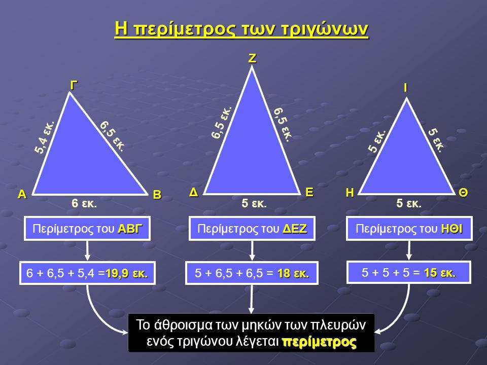 Η περίμετρος των τριγώνων ΔΕΖ ΗΙΘ 5 εκ. 6,5 εκ. 6 εκ. 5,4 εκ. 6,5 εκ. ΑΓΒ ΑΒΓ Περίμετρος του ΑΒΓ ΔΕΖ Περίμετρος του ΔΕΖ ΗΘΙ Περίμετρος του ΗΘΙ Το άθρο