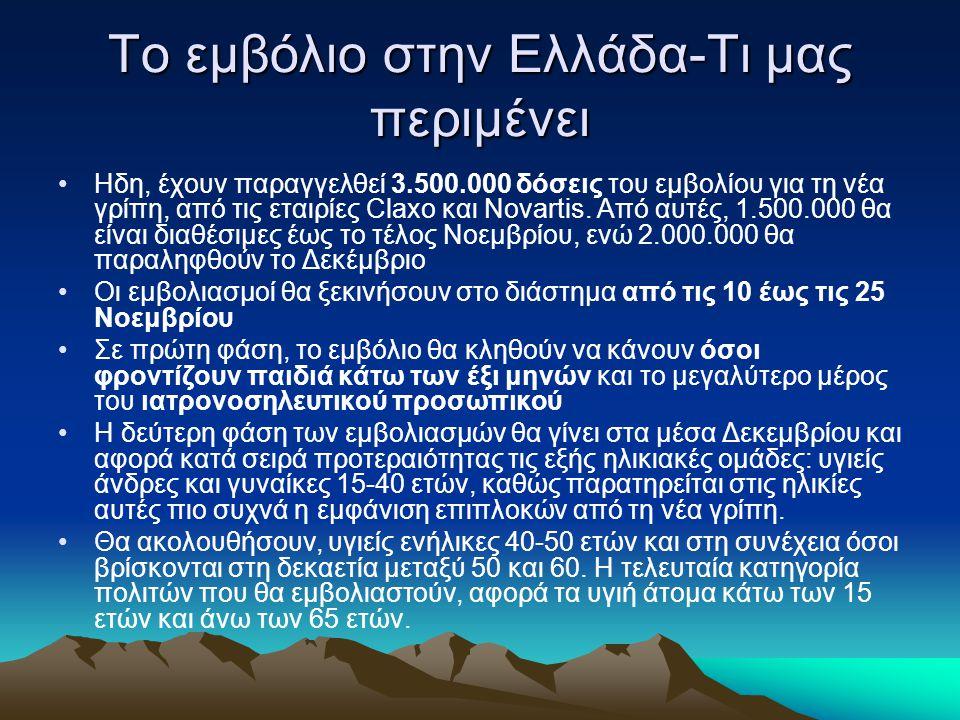 Το εμβόλιο στην Ελλάδα-Τι μας περιμένει Ηδη, έχουν παραγγελθεί 3.500.000 δόσεις του εμβολίου για τη νέα γρίπη, από τις εταιρίες Claxo και Novartis.