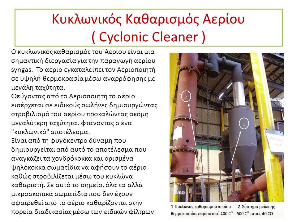 Κυκλωνικός Καθαρισμός Αερίου ( Cyclonic Cleaner ) Ο κυκλωνικός καθαρισμός του Αερίου είναι μια σημαντική διεργασία για την παραγωγή αερίου syngas. Το