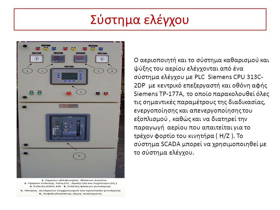 Σύστημα ελέγχου Ο αεριοποιητή και το σύστημα καθαρισμού και ψύξης του αερίου ελέγχονται από ένα σύστημα ελέγχου με PLC Siemens CPU 313C- 2DP με κεντρι
