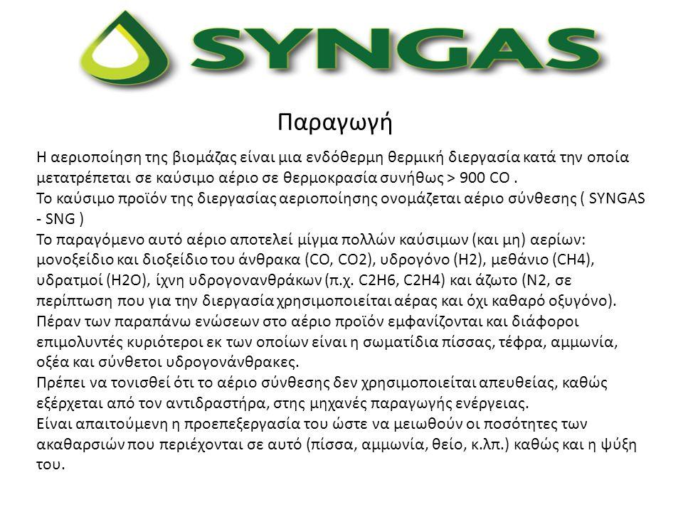 Παραγωγή Η αεριοποίηση της βιομάζας είναι μια ενδόθερμη θερμική διεργασία κατά την οποία μετατρέπεται σε καύσιμο αέριο σε θερμοκρασία συνήθως > 900 CO
