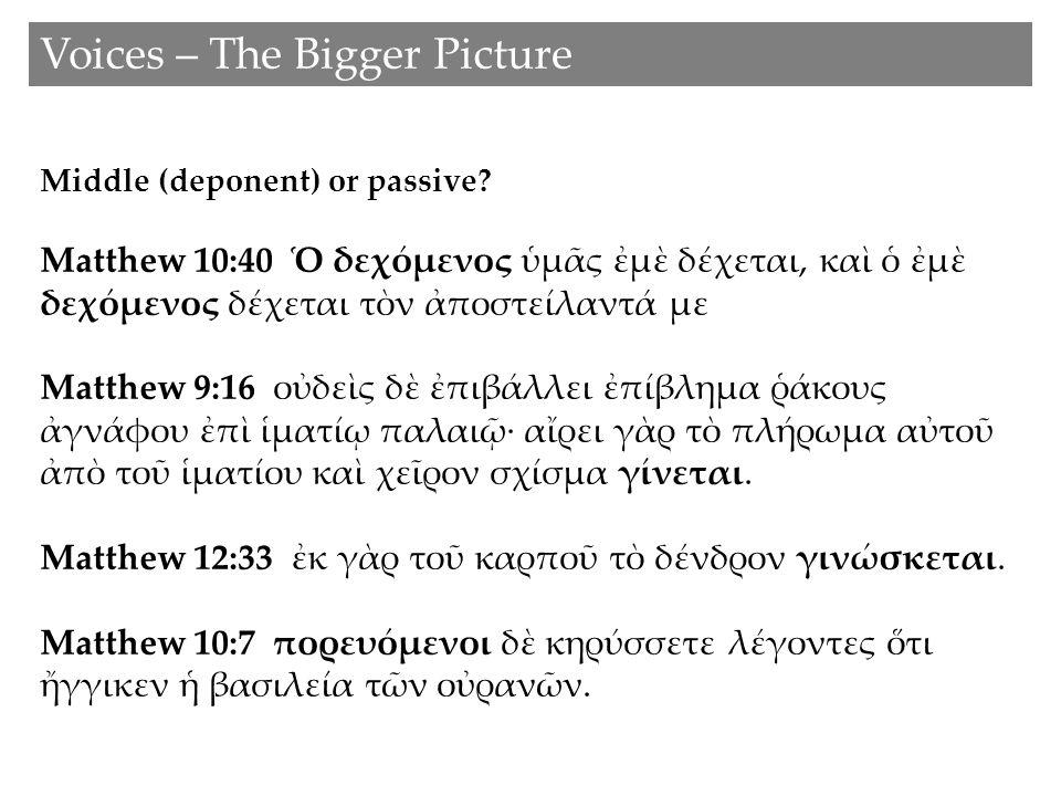 Voices – The Bigger Picture Middle (deponent) or passive? Matthew 10:40 Ὁ δεχόμενος ὑμᾶς ἐμὲ δέχεται, καὶ ὁ ἐμὲ δεχόμενος δέχεται τὸν ἀποστείλαντά με