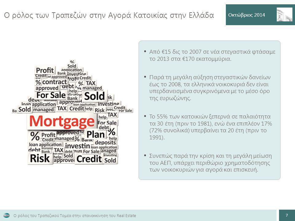 Ο ρόλος των Τραπεζών στην Αγορά Κατοικίας στην Ελλάδα Οκτώβριος 2014 7 Ο ρόλος του Τραπεζικού Τομέα στην επανεκκίνηση του Real Estate Από €15 δις το 2007 σε νέα στεγαστικά φτάσαμε το 2013 στα €170 εκατομμύρια.
