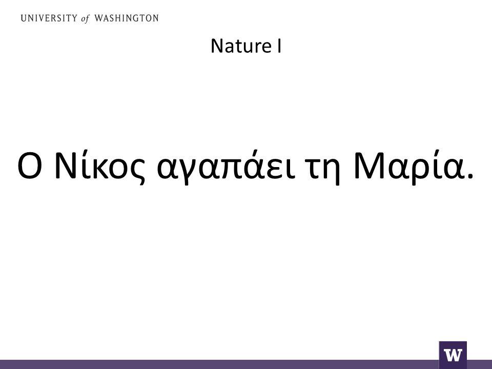 Nature I Ο Νίκος αγαπάει τη Μαρία.