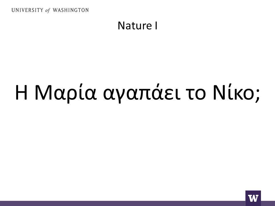 Nature I Η Μαρία αγαπάει το Νίκο;