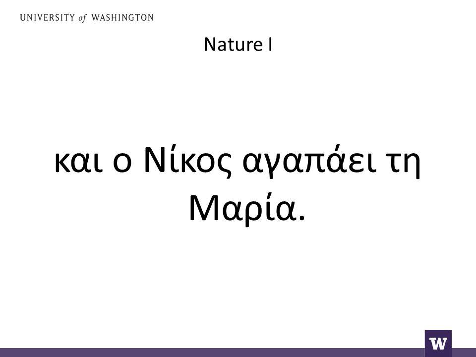 Nature I και ο Νίκος αγαπάει τη Μαρία.