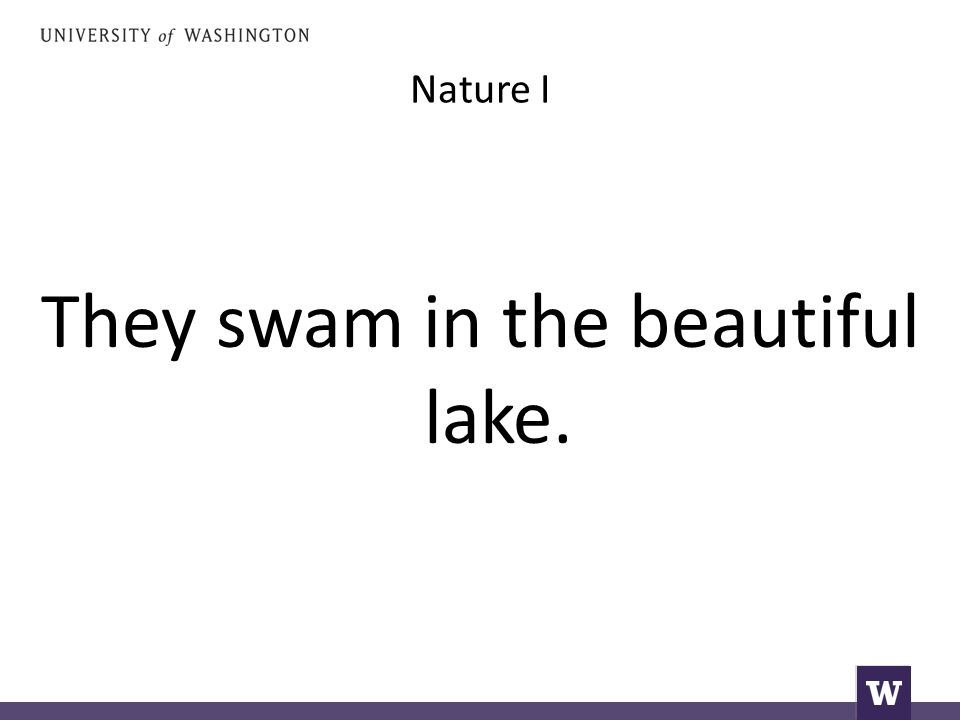 Nature I They swam in the beautiful lake.