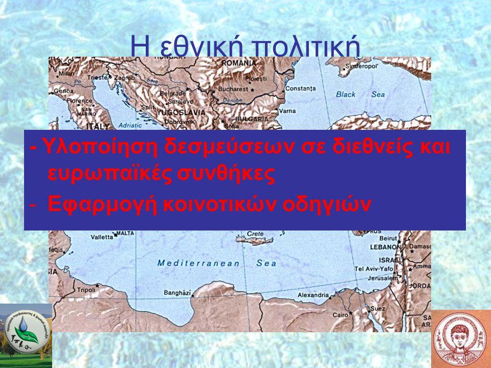 Η εθνική πολιτική ΔΕΝ ΥΠΑΡΧΕΙ (;) - Υλοποίηση δεσμεύσεων σε διεθνείς και ευρωπαϊκές συνθήκες -Εφαρμογή κοινοτικών οδηγιών