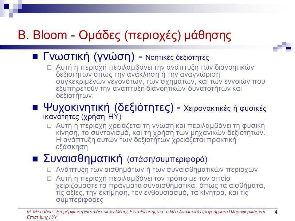 Μ. Μιλτιάδου : Επιμόρφωση Εκπαιδευτικών Μέσης Εκπαίδευσης για τα Νέα Αναλυτικά Προγράμματα Πληροφορικής και Επιστήμης Η/Υ 4 Β. Bloom - Ομάδες (περιοχέ