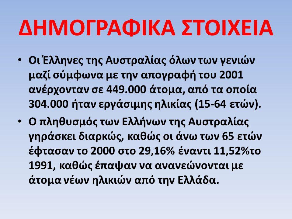ΔΗΜΟΓΡΑΦΙΚΑ ΣΤΟΙΧΕΙΑ Οι Έλληνες της Αυστραλίας όλων των γενιών μαζί σύμφωνα με την απογραφή του 2001 ανέρχονταν σε 449.000 άτομα, από τα οποία 304.000