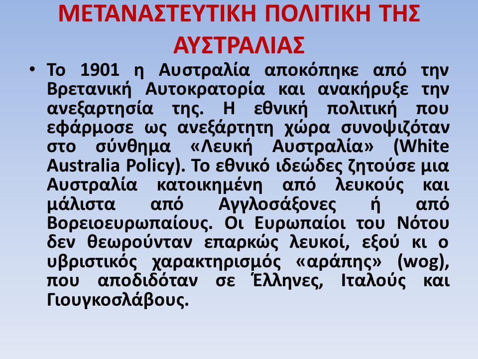 ΜΕΤΑΝΑΣΤΕΥΤΙΚΗ ΠΟΛΙΤΙΚΗ ΤΗΣ ΑΥΣΤΡΑΛΙΑΣ Το 1901 η Αυστραλία αποκόπηκε από την Βρετανική Αυτοκρατορία και ανακήρυξε την ανεξαρτησία της. Η εθνική πολιτι