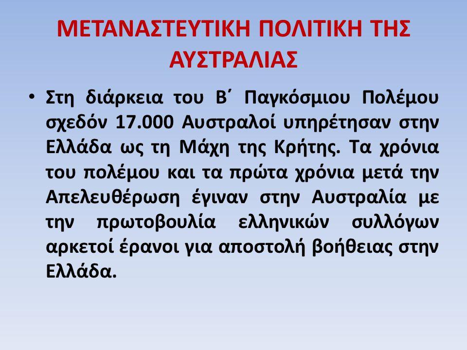ΜΕΤΑΝΑΣΤΕΥΤΙΚΗ ΠΟΛΙΤΙΚΗ ΤΗΣ ΑΥΣΤΡΑΛΙΑΣ Στη διάρκεια του Β΄ Παγκόσμιου Πολέμου σχεδόν 17.000 Αυστραλοί υπηρέτησαν στην Ελλάδα ως τη Μάχη της Κρήτης. Τα