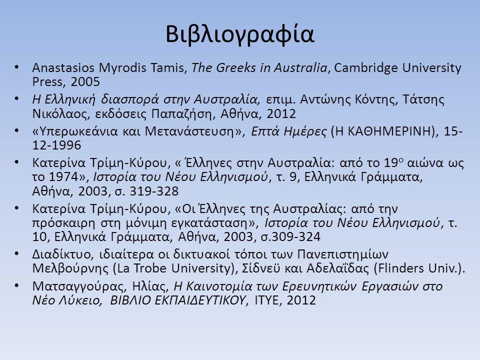 Βιβλιογραφία Anastasios Myrodis Tamis, The Greeks in Australia, Cambridge University Press, 2005 Η Ελληνική διασπορά στην Αυστραλία, επιμ. Αντώνης Κόν