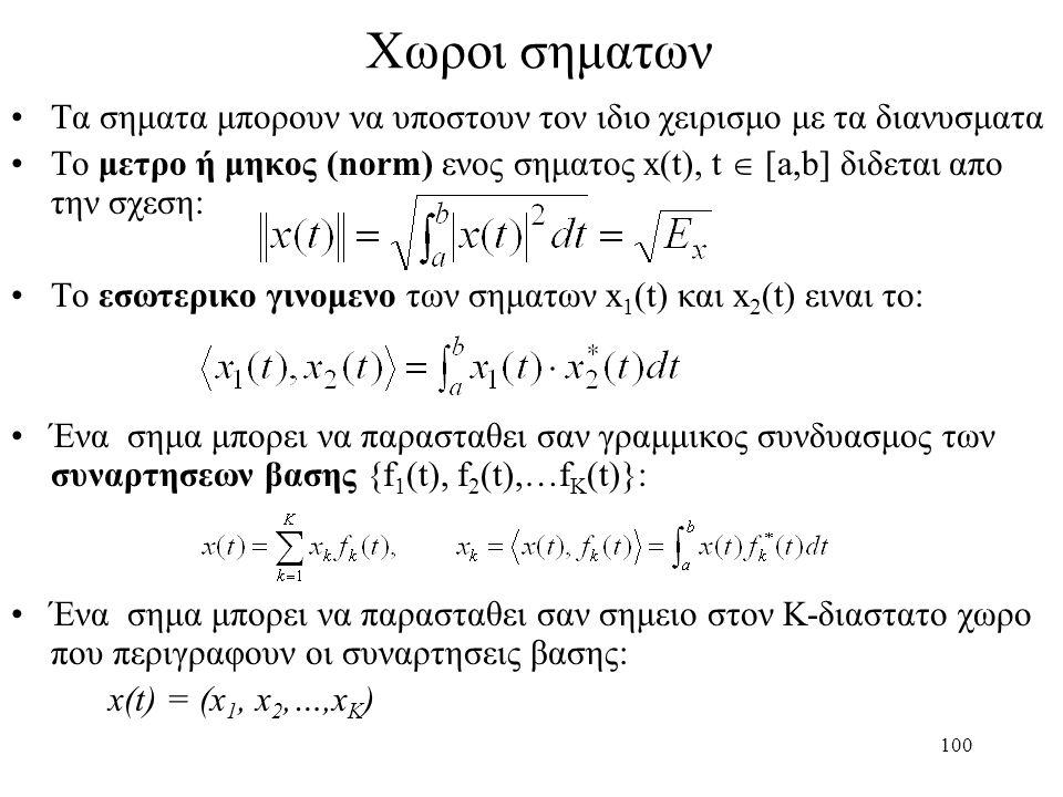 100 Χωροι σηματων Τα σηματα μπορουν να υποστουν τον ιδιο χειρισμο με τα διανυσματα Το μετρο ή μηκος (norm) ενος σηματος x(t), t  [a,b] διδεται απο τη