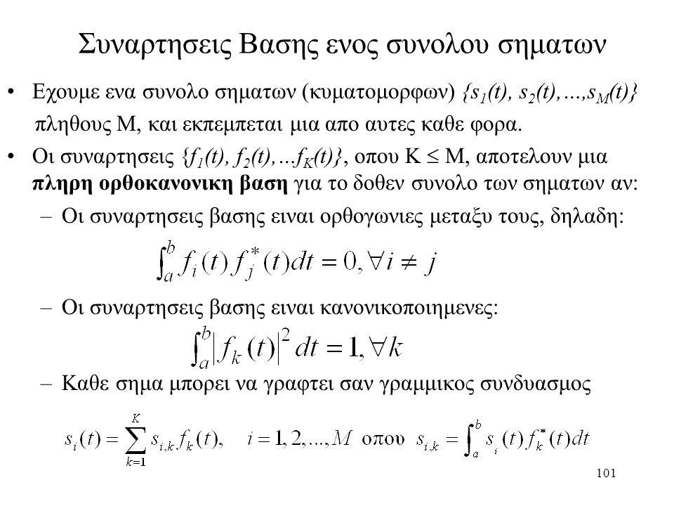 101 Συναρτησεις Βασης ενος συνολου σηματων Εχουμε ενα συνολο σηματων (κυματομορφων) {s 1 (t), s 2 (t),…,s M (t)} πληθους Μ, και εκπεμπεται μια απο αυτ