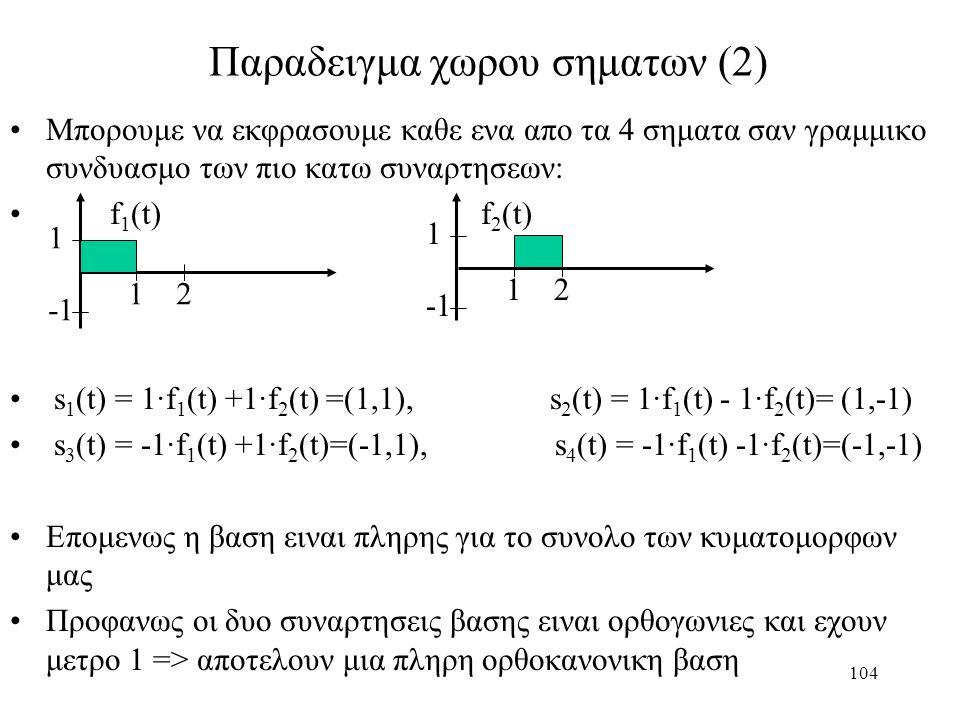 104 Παραδειγμα χωρου σηματων (2) Μπορουμε να εκφρασουμε καθε ενα απο τα 4 σηματα σαν γραμμικο συνδυασμο των πιο κατω συναρτησεων: f 1 (t) f 2 (t) s 1