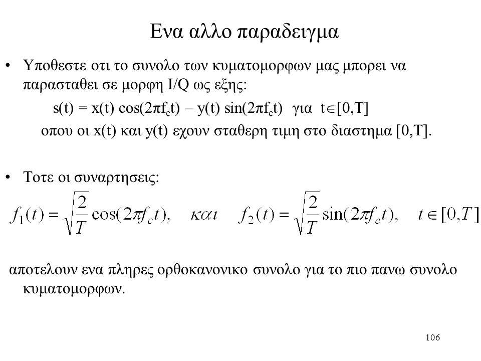 106 Ενα αλλο παραδειγμα Υποθεστε οτι το συνολο των κυματομορφων μας μπορει να παρασταθει σε μορφη I/Q ως εξης: s(t) = x(t) cos(2πf c t) – y(t) sin(2πf