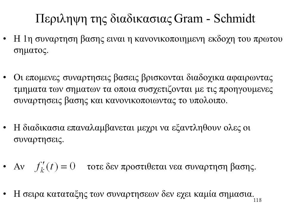 118 Περιληψη της διαδικασιας Gram - Schmidt Η 1η συναρτηση βασης ειναι η κανονικοποιημενη εκδοχη του πρωτου σηματος. Οι επομενες συναρτησεις βασεις βρ