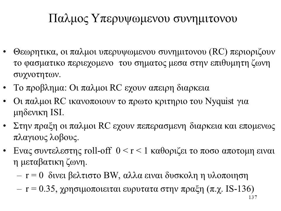 137 Παλμος Υπερυψωμενου συνημιτονου Θεωρητικα, οι παλμοι υπερυψωμενου συνημιτονου (RC) περιοριζουν το φασματικο περιεχομενο του σηματος μεσα στην επιθ