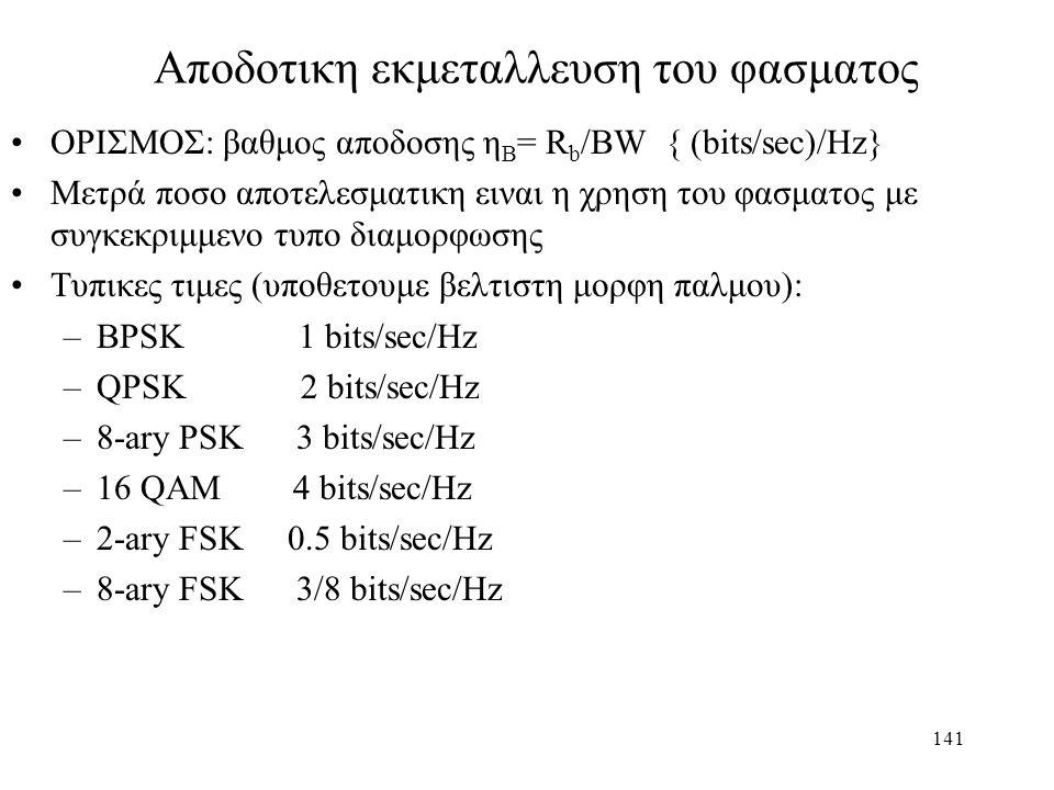141 Αποδοτικη εκμεταλλευση του φασματος ΟΡΙΣΜΟΣ: βαθμος αποδοσης η Β = R b /BW { (bits/sec)/Hz} Μετρά ποσο αποτελεσματικη ειναι η χρηση του φασματος μ