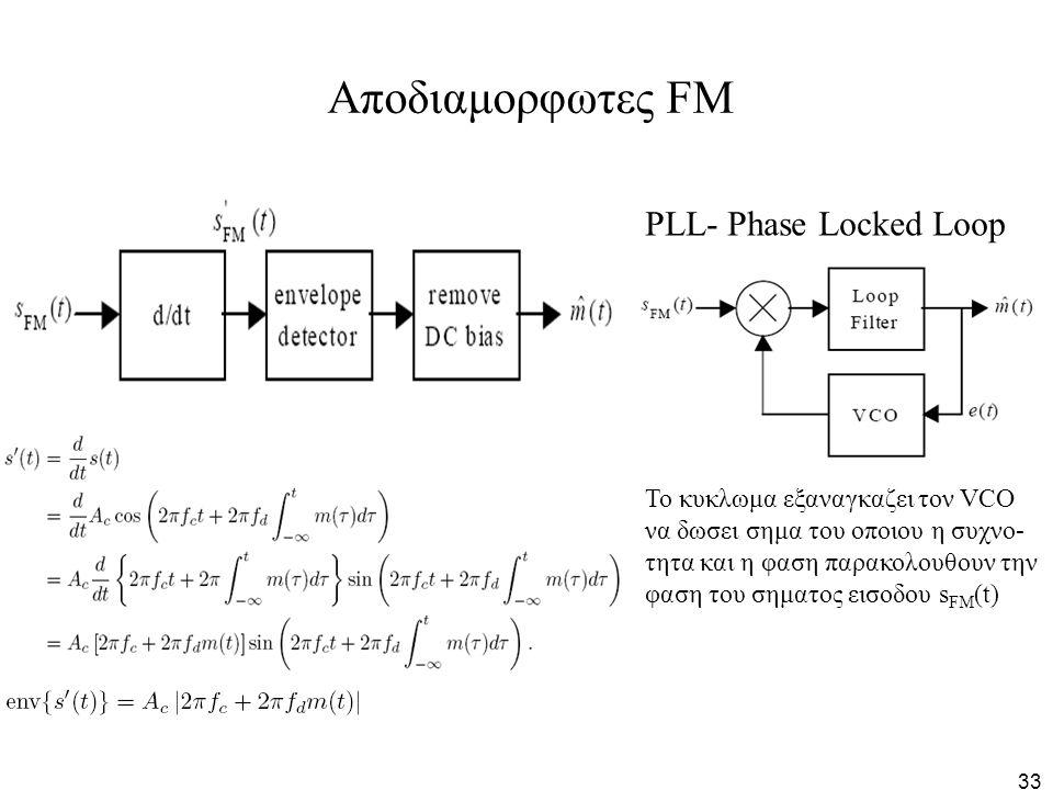 33 Αποδιαμορφωτες FM PLL- Phase Locked Loop Το κυκλωμα εξαναγκαζει τον VCO να δωσει σημα του οποιου η συχνο- τητα και η φαση παρακολουθουν την φαση το