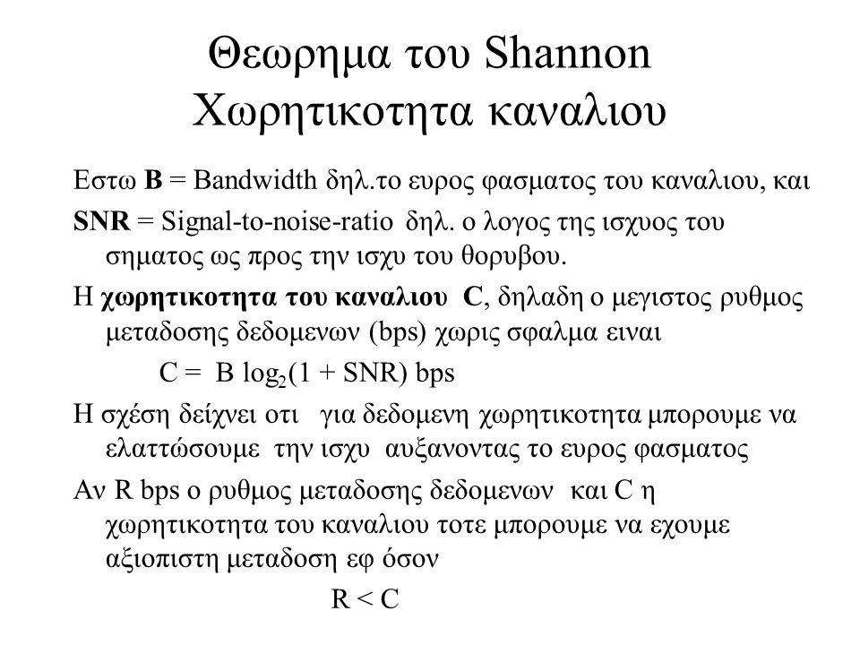 58 Θεωρημα του Shannon Χωρητικοτητα καναλιου Εστω Β = Bandwidth δηλ.το ευρος φασματος του καναλιου, και SNR = Signal-to-noise-ratio δηλ. ο λογος της ι