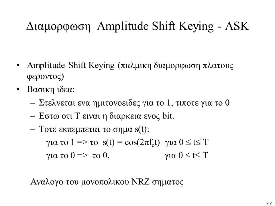77 Διαμορφωση Amplitude Shift Keying - ASK Amplitude Shift Keying (παλμικη διαμορφωση πλατους φεροντος) Βασικη ιδεα: –Στελνεται ενα ημιτονοειδες για τ