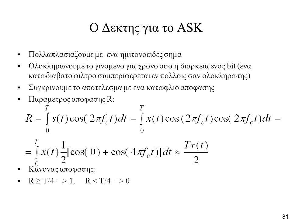 81 O Δεκτης για το ΑSK Πολλαπλασιαζουμε με ενα ημιτονοειδες σημα Ολοκληρωνουμε το γινομενο για χρονο οσο η διαρκεια ενος bit (ενα κατωδιαβατο φιλτρο σ