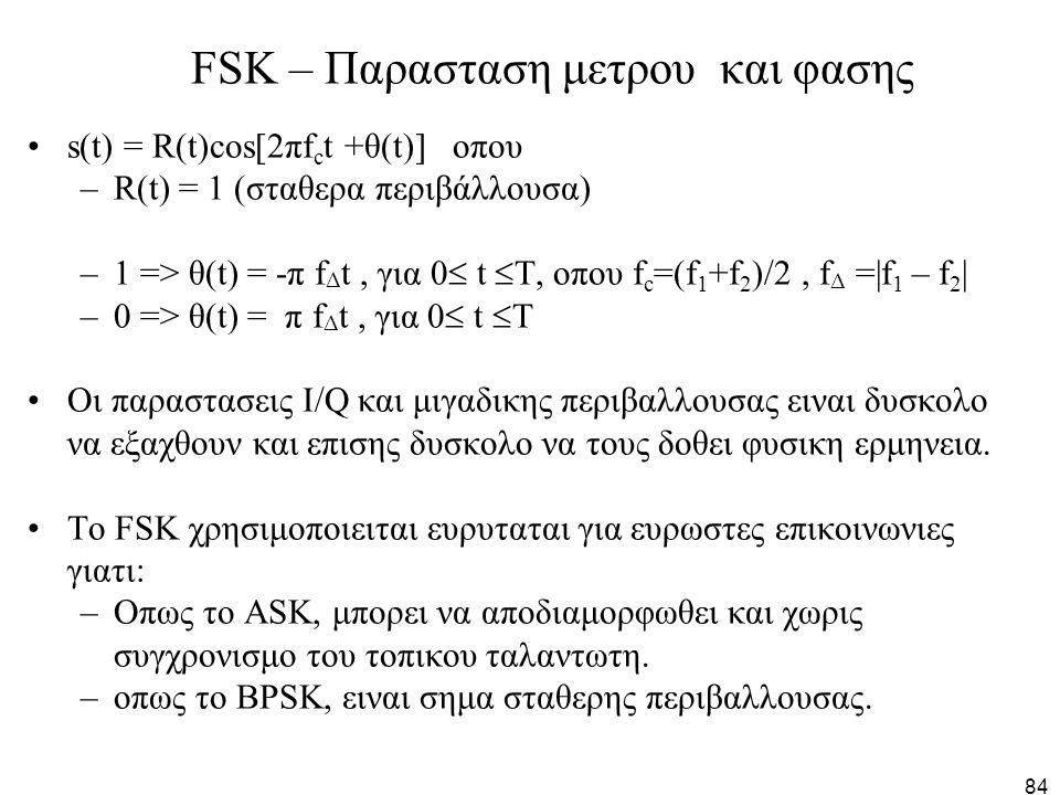 84 FSK – Παρασταση μετρου και φασης s(t) = R(t)cos[2πf c t +θ(t)] οπου –R(t) = 1 (σταθερα περιβάλλουσα) –1 => θ(t) = -π f Δ t, για 0  t  T, οπου f c