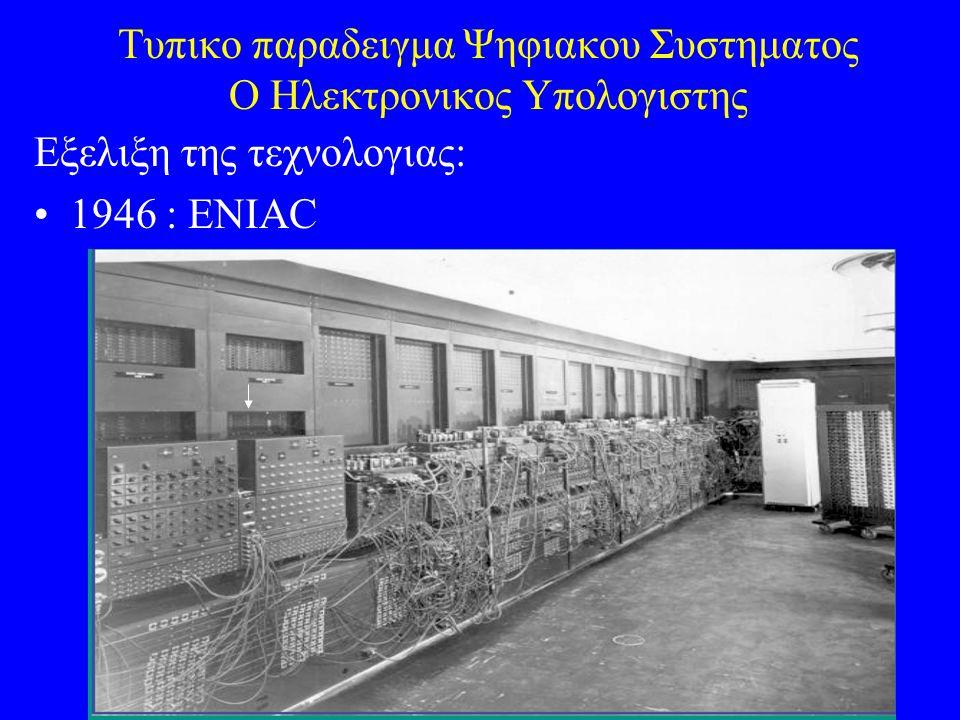 Τυπικο παραδειγμα Ψηφιακου Συστηματος Ο Ηλεκτρονικος Υπολογιστης Εξελιξη της τεχνολογιας: 1946 : ENIAC