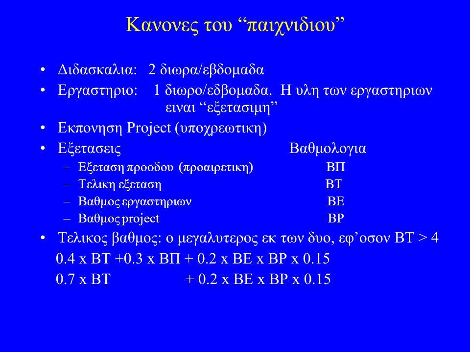 Κανονες του παιχνιδιου Διδασκαλια: 2 διωρα/εβδομαδα Εργαστηριο: 1 διωρο/εδβομαδα.