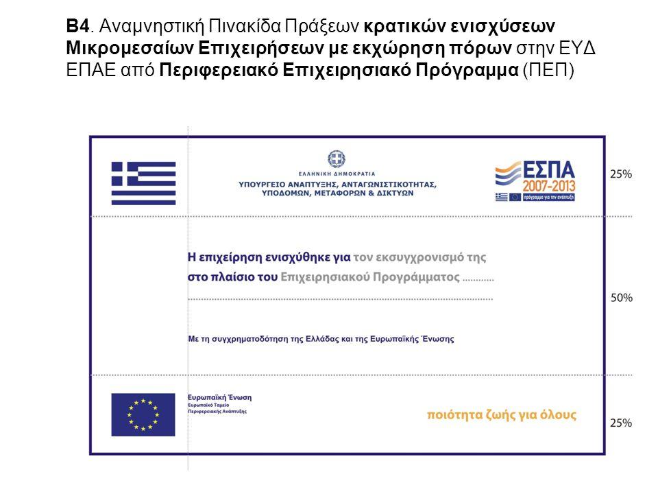 4 Β4. Αναμνηστική Πινακίδα Πράξεων κρατικών ενισχύσεων Μικρομεσαίων Επιχειρήσεων με εκχώρηση πόρων στην ΕΥΔ ΕΠΑΕ από Περιφερειακό Επιχειρησιακό Πρόγρα
