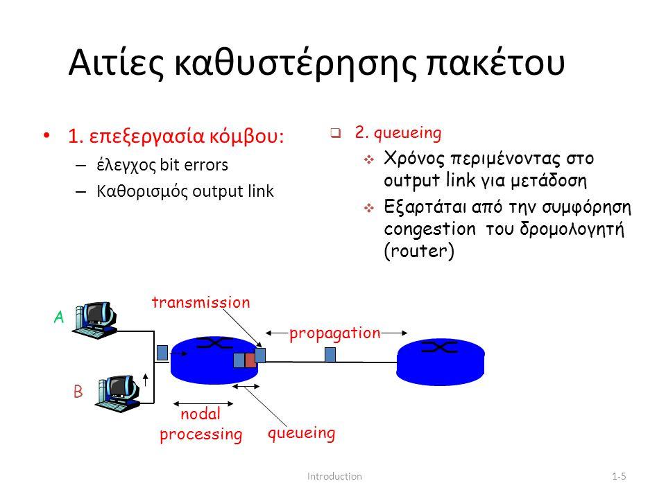 Introduction1-5 Αιτίες καθυστέρησης πακέτου 1. επεξεργασία κόμβου: – έλεγχος bit errors – Καθορισμός output link A B propagation transmission nodal pr