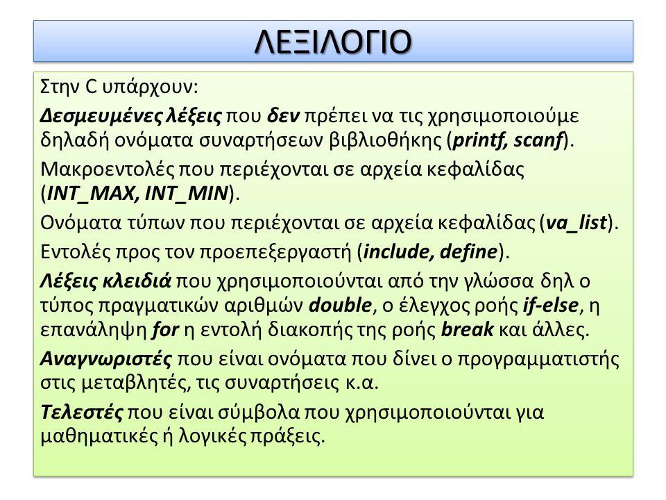 ΛΕΞΙΛΟΓΙΟΛΕΞΙΛΟΓΙΟ Στην C υπάρχουν: Δεσμευμένες λέξεις που δεν πρέπει να τις χρησιμοποιούμε δηλαδή ονόματα συναρτήσεων βιβλιοθήκης (printf, scanf). Μα