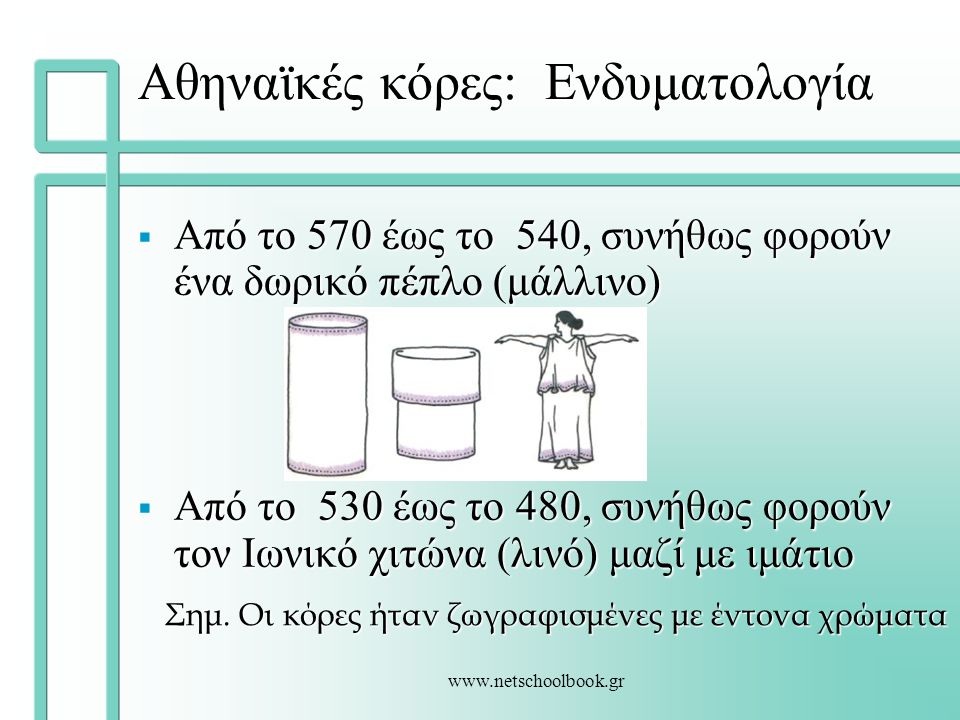 www.netschoolbook.gr Αθηναϊκές κόρες: Ενδυματολογία  Από το 570 έως το 540, συνήθως φορούν ένα δωρικό πέπλο (μάλλινο)  Από το 530 έως το 480, συνήθω