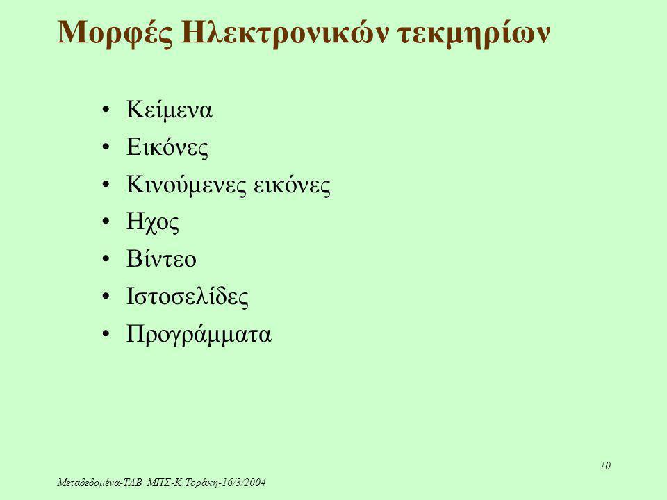 Μεταδεδομένα-ΤΑΒ ΜΠΣ-Κ.Τοράκη-16/3/2004 10 Μορφές Ηλεκτρονικών τεκμηρίων Κείμενα Εικόνες Κινούμενες εικόνες Ηχος Βίντεο Ιστοσελίδες Προγράμματα