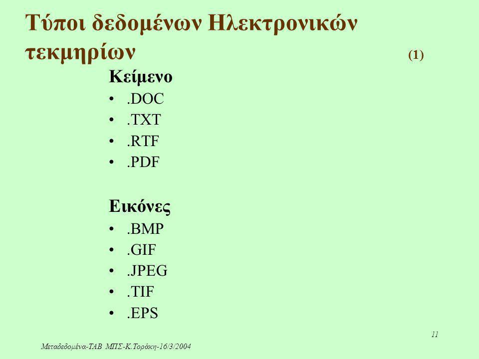 Μεταδεδομένα-ΤΑΒ ΜΠΣ-Κ.Τοράκη-16/3/2004 11 Τύποι δεδομένων Ηλεκτρονικών τεκμηρίων (1) Κείμενο.DOC.TXT.RTF.PDF Εικόνες.BMP.GIF.JPEG.TIF.EPS