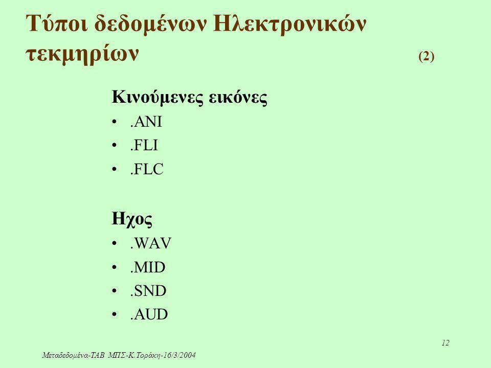 Μεταδεδομένα-ΤΑΒ ΜΠΣ-Κ.Τοράκη-16/3/2004 12 Τύποι δεδομένων Ηλεκτρονικών τεκμηρίων (2) Κινούμενες εικόνες.ANI.FLI.FLC Ηχος.WAV.MID.SND.AUD