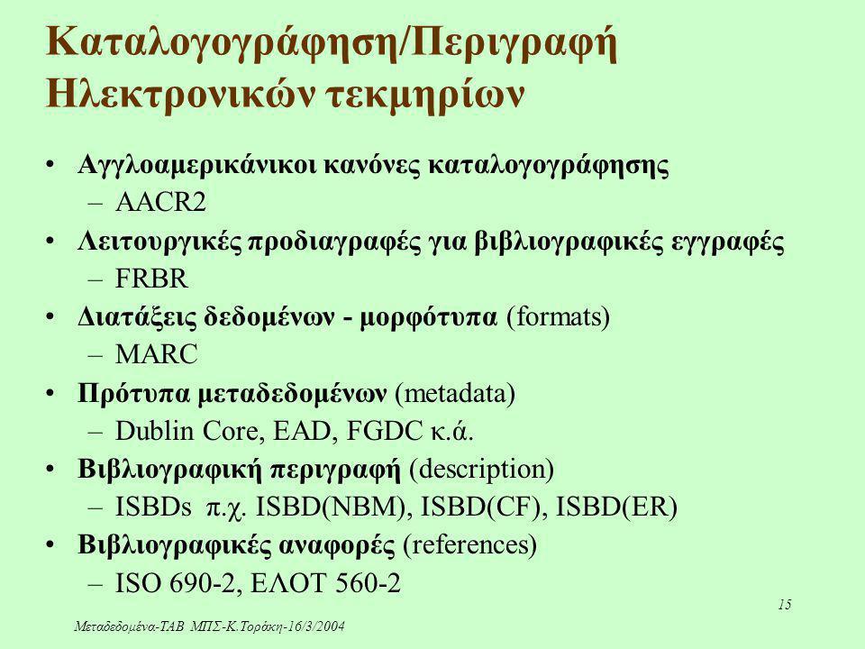 Μεταδεδομένα-ΤΑΒ ΜΠΣ-Κ.Τοράκη-16/3/2004 15 Καταλογογράφηση/Περιγραφή Ηλεκτρονικών τεκμηρίων Αγγλοαμερικάνικοι κανόνες καταλογογράφησης –AACR2 Λειτουργ