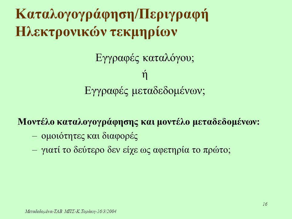 Μεταδεδομένα-ΤΑΒ ΜΠΣ-Κ.Τοράκη-16/3/2004 16 Καταλογογράφηση/Περιγραφή Ηλεκτρονικών τεκμηρίων Εγγραφές καταλόγου; ή Εγγραφές μεταδεδομένων; Μοντέλο κατα