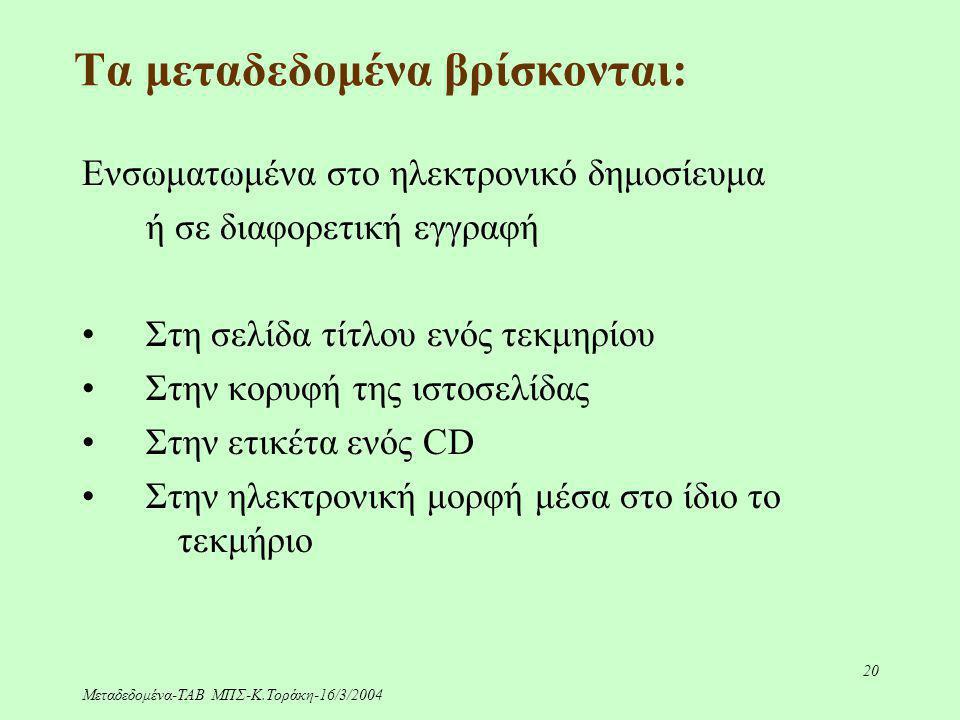 Μεταδεδομένα-ΤΑΒ ΜΠΣ-Κ.Τοράκη-16/3/2004 20 Τα μεταδεδομένα βρίσκονται: Ενσωματωμένα στο ηλεκτρονικό δημοσίευμα ή σε διαφορετική εγγραφή Στη σελίδα τίτ
