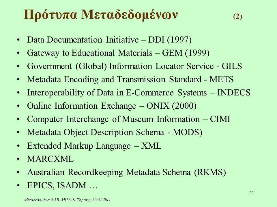 Μεταδεδομένα-ΤΑΒ ΜΠΣ-Κ.Τοράκη-16/3/2004 22 Data Documentation Initiative – DDI (1997) Gateway to Educational Materials – GEM (1999) Government (Global