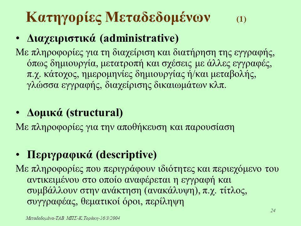 Μεταδεδομένα-ΤΑΒ ΜΠΣ-Κ.Τοράκη-16/3/2004 24 Κατηγορίες Μεταδεδομένων (1) Διαχειριστικά (administrative) Με πληροφορίες για τη διαχείριση και διατήρηση