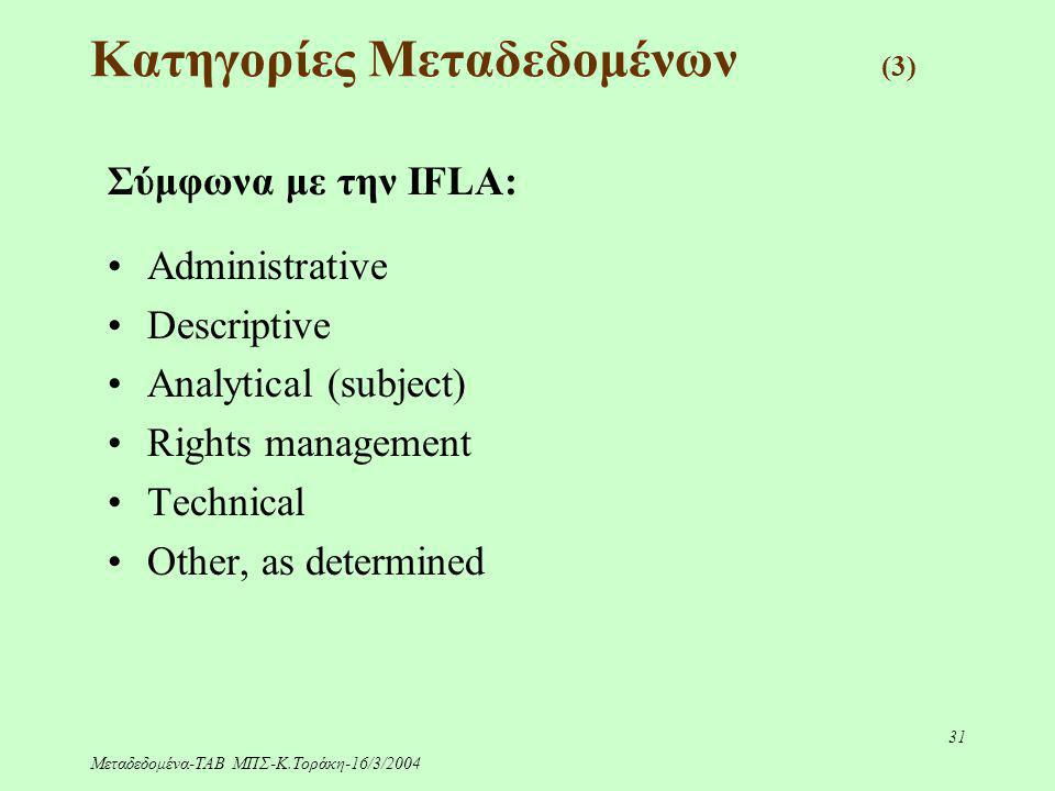 Μεταδεδομένα-ΤΑΒ ΜΠΣ-Κ.Τοράκη-16/3/2004 31 Κατηγορίες Μεταδεδομένων (3) Σύμφωνα με την IFLA: Administrative Descriptive Analytical (subject) Rights ma