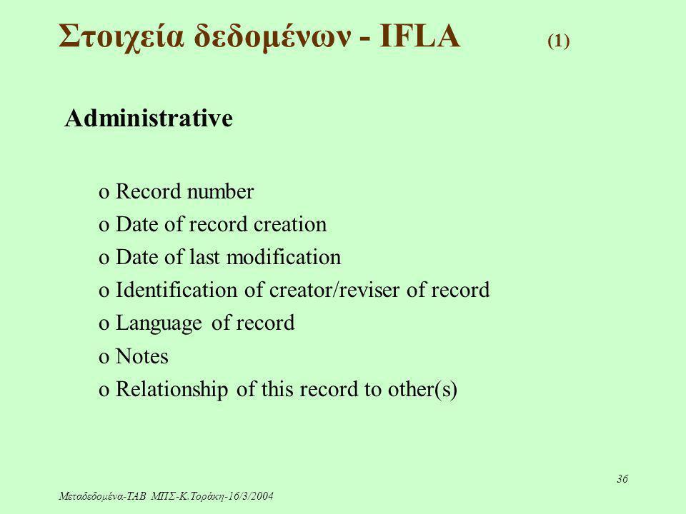 Μεταδεδομένα-ΤΑΒ ΜΠΣ-Κ.Τοράκη-16/3/2004 36 Στοιχεία δεδομένων - IFLA (1) Administrative o Record number o Date of record creation o Date of last modif